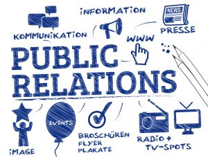 Public Relations. Chart mit Symbolen und Schlüsselwörtern